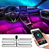 Interior Car Led Strip Lights - APP Controller Lighting Kits Multi-color Music Car Strip Light with Sound Active Function and Remote Controller