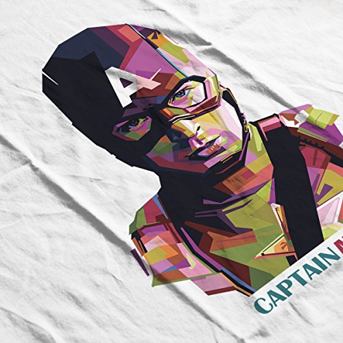 Geometric Celebrity Captain America Women's Hooded Sweatshirt White