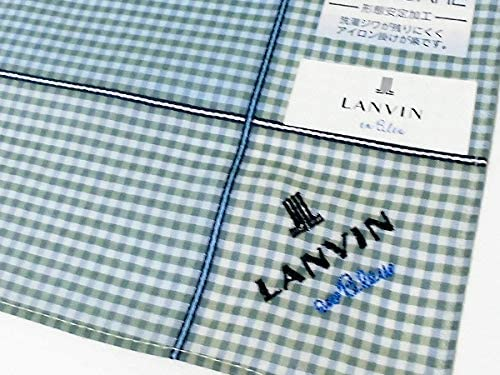 送料180円[14]*ハンカチ ランバン オン ブルー[LANVIN en Bleu] チェック柄 グリーン 形態安定加工 綿100% 日本製 48cm メンズ