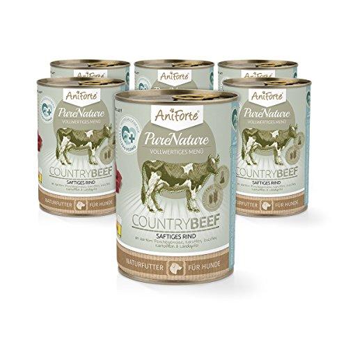 AniForte® PureNature Nassfutter 6x400g Hundefutter- Naturprodukt für Hunde