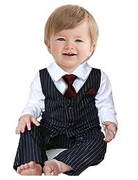 Baby Boy's Wedding Formal Party Bow Tie Tuxedo Suit Romper Jumpsuit Black