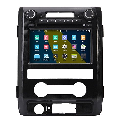 Android 4.4.4 Car Stereo Radio Head Unit GPS Navigation DVD Player for 2013 2014 2015 Ford F150 w/ Radio/Steering Wheel/Bluetooth/Wifi/AV-IN/16Gb Memory/Quad Core/Mirror Link/Air Play