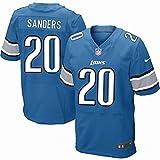 20 Barry Sanders Light Blue Team Color Jersey Elite Tshirt Mens Size M