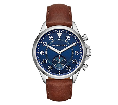 Michael Kors Men's Silvertone Leather Strap Gage Hybrid Smart Watch