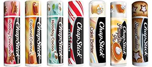 Chapstick Limited Edition Holiday 2017 Set of 7 ~ Sugar Cookie, Pumpkin Pie, Candy Cane, Cake Batter, Caramel Crème, Holiday Cinnamon & Holiday ()