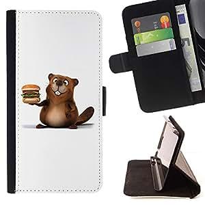 For LG G4 Case , Castor amistoso hamburguesa- la tarjeta de Crédito Slots PU Funda de cuero Monedero caso cubierta de piel