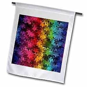 Lee Hiller Designs Mix Match Décor - Falling Stars - Rainbow - 12 x 18 inch Garden Flag (fl_43079_1)