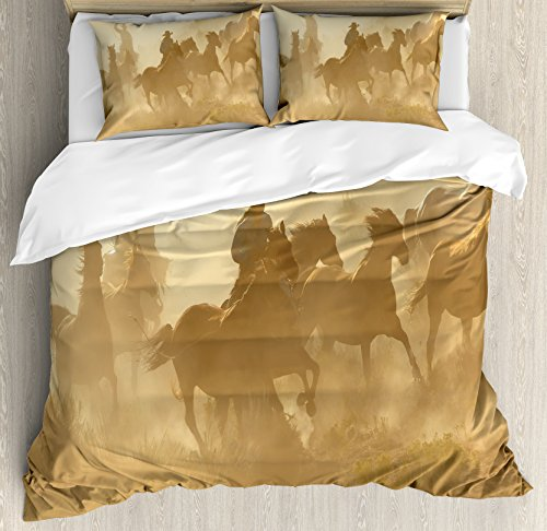 Ambesonne Western Duvet Cover Set King Size, Galloping Running Horses in Desert Two Cowboys Roping Dusty Wild Rural Countryside, Decorative 3 Piece Bedding Set with 2 Pillow Shams, Light Brown