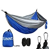 Image of Double Camping Hammock. Ripstop Nylon & Durable Stitching 500lbs Weight Capacity Safe Belt Straps - Lightweight, Portable & Folding - For Patio, Beach, Garden Use & Outdoor Recreation (Bule/Gray)