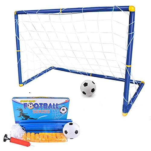 Suyi Large Size Portable Detachable Mini Kids Football Goal Soccer Door Set Best Gift For Baby,with Soccer Ball and Pump,Indoor and Outdoor Sports by Suyi