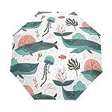 DOENR Compact Travel Umbrella Underwater Ocean Bottom Sun and Rain Auto Open Close Lightweight Portable Folding Umbrella