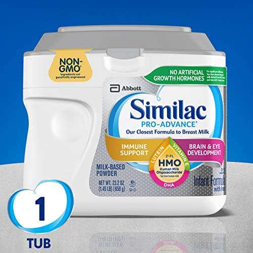 Similac Pro-Advance Non-GMO Infant Formula with Iron, with 2'-FL HMO, for Immune Support, Baby Formula, Powder, 23.2 Ounce