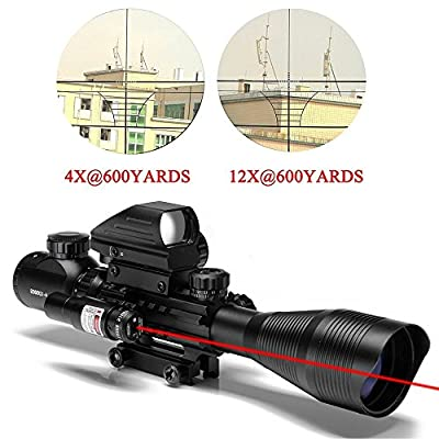 Tongji C4-12X50 AR15 Tactical Rifle Scope with Red Laser and Holographic Dot Sight (12 Month Warranty)