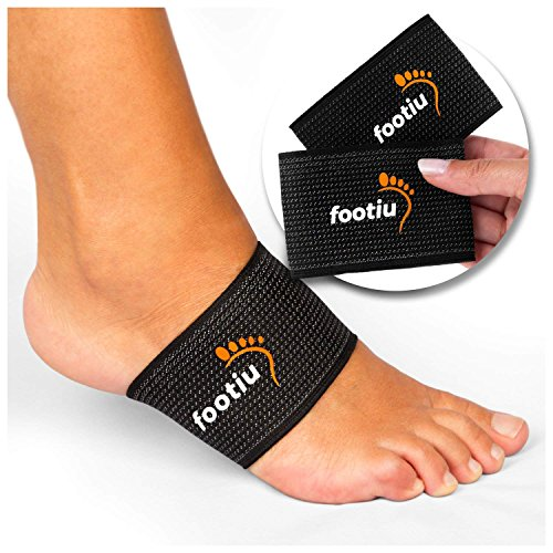 FOOTIE Compression Copper Arch Support Brace - 2 Plantar Fasciitis Sleeves