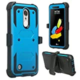 [GW USA] Belt Clip Holster Compatible for LG Aristo 2/LG Aristo 2 Plus/LG Risio 3/LG Tribute Dynasty/LG Zone 4/LG Fortune 2/LG Rebel 3 LTE Case Full Body Coverage [Built in Screen Protector] - Blue