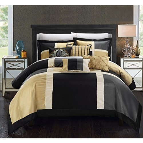 Chic Home 7 Piece Alleta Patchwork Solid Color Block with Embroidery And Pintuck Decorative Pillows Comforter Set, Queen, Black ()