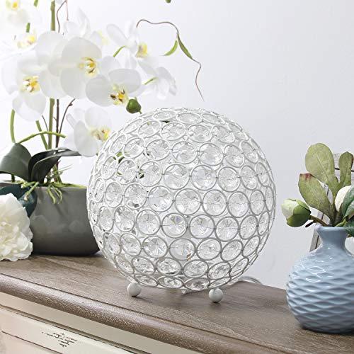 Elegant Designs LT1026-WHT Elipse 8 Inch Crystal Ball Sequin Table Lamp, White (Design Pottery Barn Room Tool)