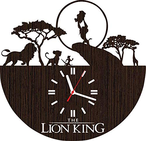 Wooden Wall Clock The Lion King Gifts for Kids Boys Girls Room Decorations Baby Shower Disney Movie Simba Timon and Pumba Party Supplies Bedding Christmas DVD Poster Women Collectibles Vinyl