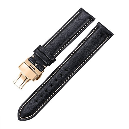 - Calf Leather Watch Band 20mm iStrap Padded Calfskin Strap Steel Deployant Clasp Buckle Super Soft Black