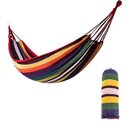 Rope Rainbow Cotton (Xiyoyo Hammock Colorful Rainbow Cotton Soft Supreme Comfort Fabric Woven Bed Two Sizes Optional with two 157in Long Ropes Protable for Travel Camping Backyard (Yellow/White/Green, 79x40in))