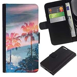 All Phone Most Case / Oferta Especial Cáscara Funda de cuero Monedero Cubierta de proteccion Caso / Wallet Case for Apple Iphone 6 PLUS 5.5 // Trees Magic Summer Sky