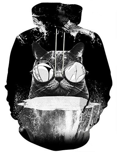 Yasswete Unisex 3D Cat Print Drawstring Hoodies Black Sweatshirts XX-Large
