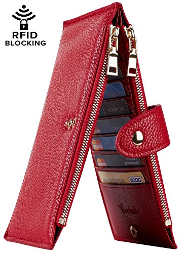 Travelambo Womens Walllet RFID Blocking Bifold Multi Card Case Wallet with Zipper Pocket (Chelsea red) by Travelambo