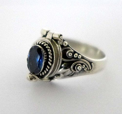 Poison Ring Bali Sterling Silver Locket Ring Blue Terbium Substitute for Sapphire September Birthstone