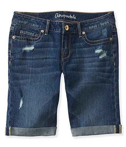 Aeropostale Womens Medium Wash Destroyed Casual Bermuda Shorts, Blue, - Bermuda Aeropostale