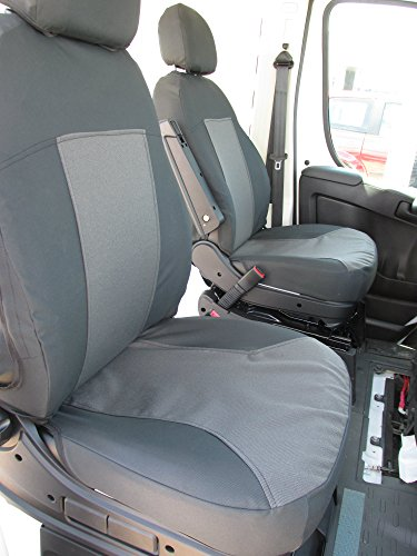 (Dodge Durafit Seat Covers.Made to fit 2013+ Promaster Van Exact Fit Front Bucket Seat Covers, Black/Gray, armrest on Drivers only.)