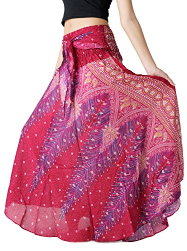 - Bangkokpants Women's Long Hippie Bohemian Skirt Gypsy Dress Boho Clothes Flowers One Size Fits (Peacock Red, One Size)