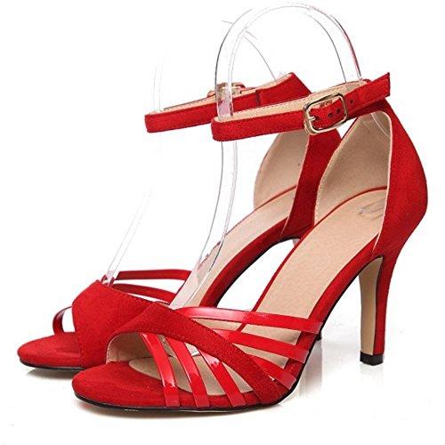 Zanpa Rosso Stiletto Sandali Heels Donne Mode HXqrBH7