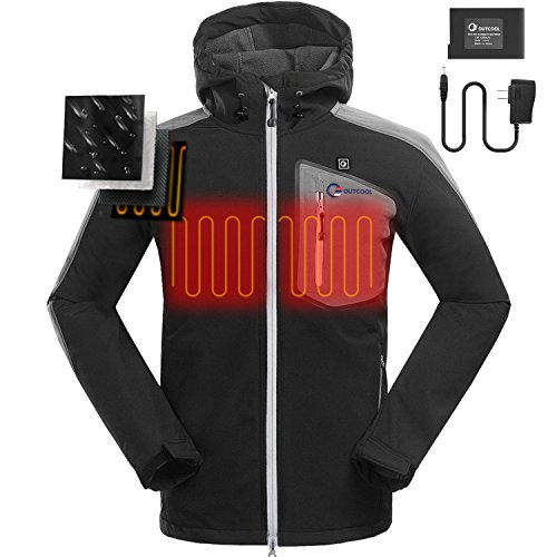 OUTCOOL Men's Soft Shell Heated Jacket Kit With Hood Waterproof Windproof Winter Jacket(XL) by OUTCOOL (Image #2)