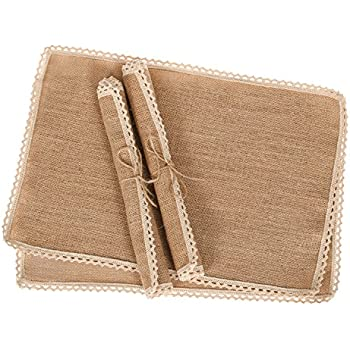 Ling's moment Rustic Burlap Placemats Country Vintage Wedding Party Decoration Farmhouse Kitchen Table Decor Table mats set of 4