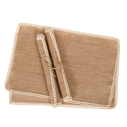 Ling's moment Rustic Burlap Placemats Country Vintage Wedding Party Decoration Farmhouse Kitchen Table Decor Table mats set of 4 (Kitchen Tables Houston)