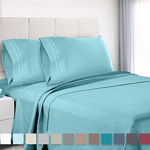(Empyrean Bedding 4 Piece Set - Hotel Luxury Soft Double Brushed Microfiber - Hypoallergenic Wrinkle Free Cooling Bed Sheets - Deep Pocket Fitted Sheet, Top Sheet, 2 Pillow Cases, Twin, Light Baby Blue)