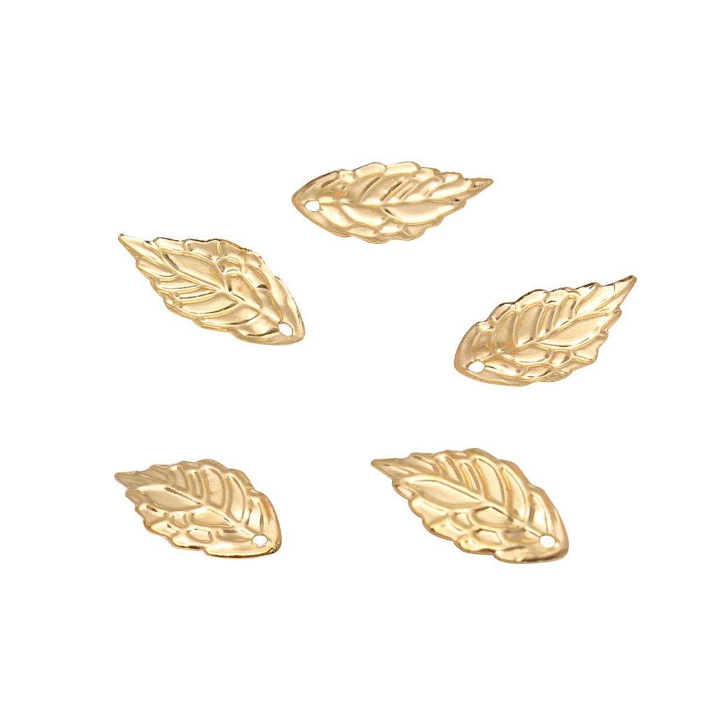 18x10 mm Sharplace 100 Unids Hoja Encantos Joyas Resultados DIY Collar Decoraci/ón Dorado
