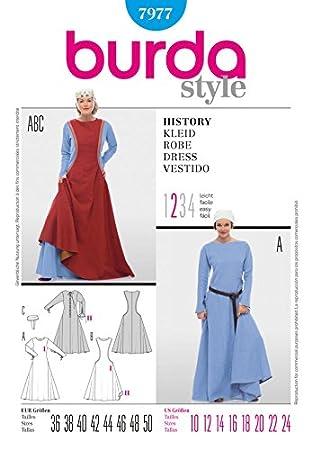 Burda Damen Schnittmuster 7977-Historische Burgfräulein Kleid ...