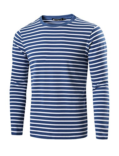 Inside Out Striped Shirt - Allegra K Men Casual Pullover Basic Crew Neck Long Sleeve Striped Tee T Shirt Medium Turquoise