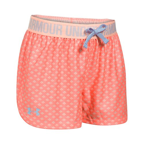 Under Armour Girls' Play Up Printed Shorts, London Orange/Playful Peach, Youth Medium