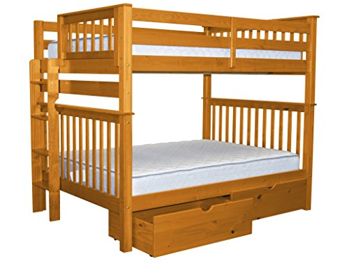 Cheap Bedz King Bunk Beds Full over Full Mission Style with End Ladder and 2 Under Bed Drawers, Honey