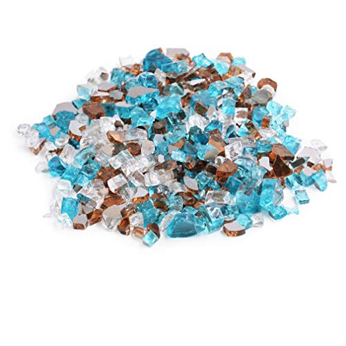 Skyflame 10-Pound Blended Fire Glass for Fire Pit Fireplace Landscaping, 1/2 inch Caribbean Blue Platinum Copper, Reflective