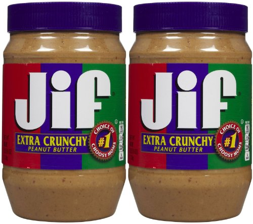 Jif, Extra Crunchy Peanut Butter, 40oz Jar (Pack of 2)