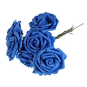 Qisuw Artificial PE Rose Flowers 10 Heads/Bunch 8cm Wedding Bride Bouquet DIY Home Garden Decor 34
