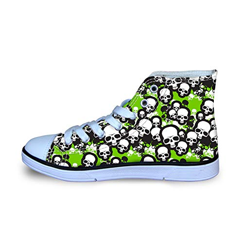 Mumeson High Top Canvas Shoes for Kids Boys Girls Sneakers Skulls Printed Flats Size 32