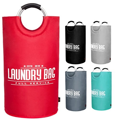 YOUYOUTE Large Laundry Basket, Oxford Fabric Collapsible Laundry Hamper, Foldable College Laundry Bags,Waterproof Portable Storage Bag Carry Aluminium Handles Dirty Clothes, Toys ()