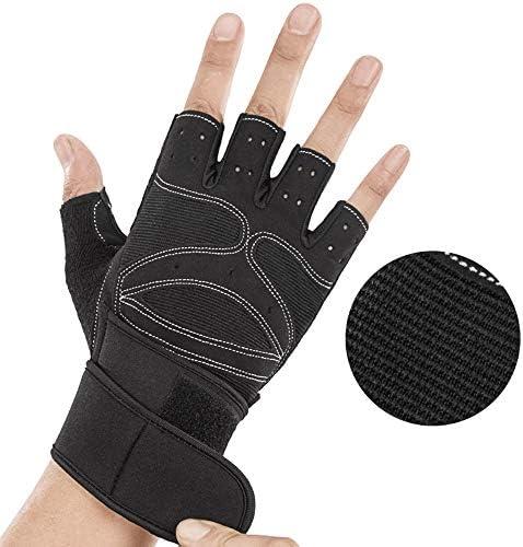 手袋 日常 実用 加圧リストバンドフィットネス手袋ハーフフィンガーグローブ滑り止め通気性の男性女性トレーニングエクササイズハーフフィンガーリストリストハーフフィンガーグローブ1ペア (Design : Standard, Size : L)