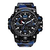 SMAEL Men's Sports Analog Quartz Watch Dual Display Waterproof Digital Watches with LED Backlight relogio masculino (Blue-Camo)