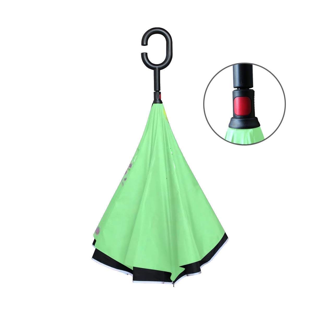 Jnseff Double Layer Inverted Banner Template Green Colorful School Fun Umbrellas Reverse Folding Umbrella Windproof Uv Protection Big Straight Umbrella for Car Rain Outdoor with C-Shaped Handle by Jnseff (Image #3)