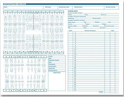 (EGP Dental Exam Record, Anatomic & Periodontics Diagrams, Horizontal Layout, Quantity 250)
